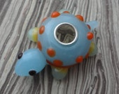 Blue Turtle Glass Hair Bead Large Hole Dreadlock Accessories Dread Accent Boho Hippie Bling Decorate your dreadlocks or extensions.