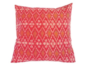 Ikat, Pillow, Cushion, Eclectic, Ethnic, Industrial, Rustic, Global Decor, Indonesian Textiles, Red