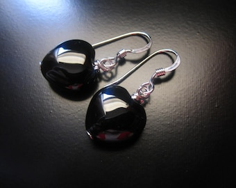 Black Onyx Heart Earrings, Black Onyx Heart Beads, Sterling Silver Earrings, Black Bead Earrings, Heart Earrings, Black Onyx Jewelry