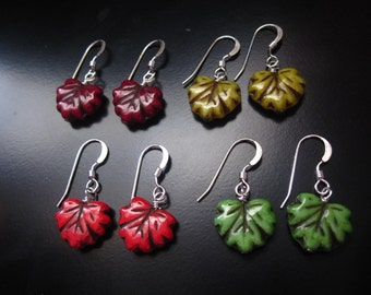 Leaf Earrings, Czech Glass Leaf Earrings, Sterling Silver Leaf, Leaf Jewelry, Autumn Earrings, Fall Earrings, Autumn Jewelry, Fall Jewelry
