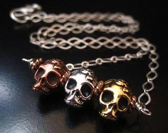 Skull Necklace, Rose Skull Beads, Sugar Skull, Gold, Copper, Silver Skull and Antique Silver Chain, Halloween Jewelry, Day Of The Day