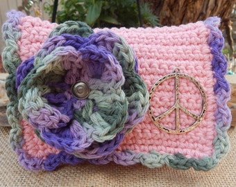 HALF PRICE CLEARANCE  ~  Pink Crocheted Purse  ~  Little Bit Purse  ~  Pink and Variegated with Peace Sign Crocheted Cotton Little Bit Purse