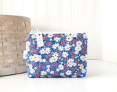 Retro Blue and Red Floral Coin Purse Gift Card Credit Card Holder Floral Zipper Pouch Floral Change Purse