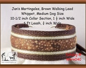 Jan's Martingales, Brown Dog Collar and Leash Combination Walking Lead, Whippet, Medium Dog Size, wbrn040