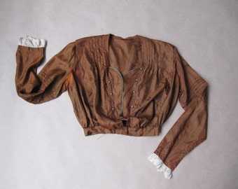 victorian copper silk damask blouse