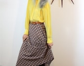 SALE 50% OFF Vintage 70s Plaid Wool Skirt High Waisted A-Line Grey Red Yellow Diagonal Checker Below the Knee Full Long Flared 1970s Sexy Se