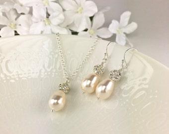 Creamrose Pearl Bridal Jewelry Set Bridal Necklace Earring Swarovski Creamrose Drop Pearl Sparkle Ball Teardrop Pearl Crystal Ball Rachel
