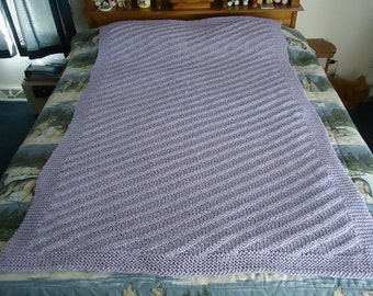 Lilac Hand Knitted Diagonal Stripes Afghan - Blanket - Throw - Home Decor - Free Shipping