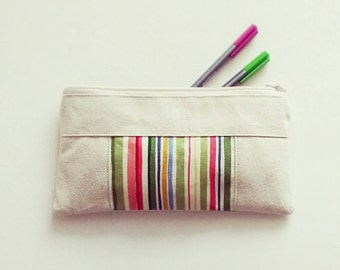 Natural Canvas Zipper  Pouch, Travel Organizer, Pencil Case, School Supplies, Back to School, Make Up Bag, Unisex, Gift for Women, Organize