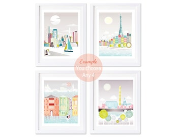 City Prints of Cities, City Skyline Wall Art Prints, Pick any 4 images in my shop (5x7 | 8x10 | 8x11.5) New York, London, Paris, Chicago etc