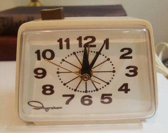 Vintage 60s Mod Electric INGRAHAM Alarm Clock Housewares Bedside