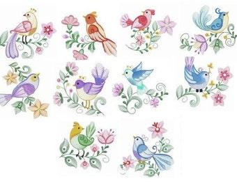 Embroidered  quilt blocks--Bright Beautiful Birds