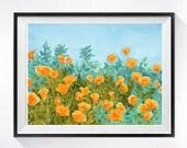 Wild California Poppy Field Landscape ArtPrint Watercolor Giclee Print, Floral artwork flower print watercolor print painting orange blue