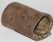 Wrist Wallet, Zippered Wrap Cuff, Hands-free, Secure, Tan Ultra Suede