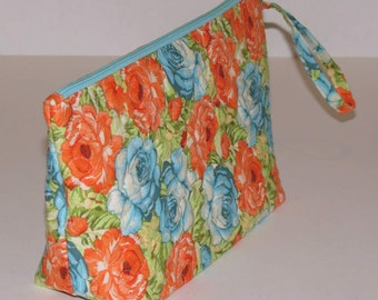 Quilted Makeup Bag, Wristlet, Clutch, Turquoise and Orange Floral