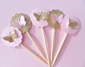 Gold Glitter Butterfly Cupcake Toppers - Pink Butterfly Cupcake Toppers - Bridal Shower Cupcake Toppers -  Small Cupcake Toppers - GBT