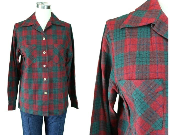 1950s Vintage Button down/ Vintage Christmas Button front/ Plaid 1950s Button front/ Plaid Double Pocket Shirt/ Lumberjack Plaid Shirt