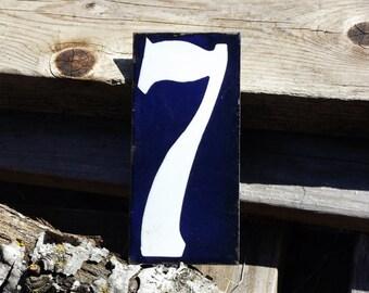 "Vintage French Enamel Number Seven Tag Large Enamel House Plaque 6"" x 2.75"""