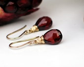Garnet Earrings | Dark Pomegranate Red Pyrope Garnet Pear Briolettes Wire Warpped in 14k Gold Filled | January Birthstone | Made to Order