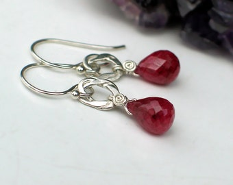 Teardrop Ruby Earrings | Ruby Briolettes in Sterling Silver Dangles | July Birthstone | Small Dangles | Red Delicious Drops | Ready to Ship