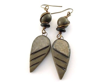 Bronze and Black Stripe Teardrop Earrings - Tribal Earrings - Artisan Earrings - Industrial Earrings -Boho Earrings -Ceramic Earrings -AE161