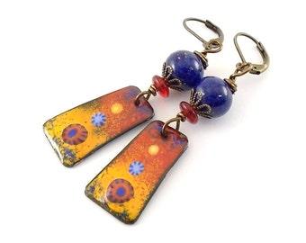 Fire and Ice Enameled Earrings - Brass Earrings - Artisan Earrings - Dark Blue Earrings - Boho Earrings - Orange Red Earrings - OOAK -AE170
