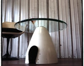 Space Age eames era White Airplane Propeller Aviation Art Spinner Cone Coffee Side Cocktail Table - Awesome Christmas Present