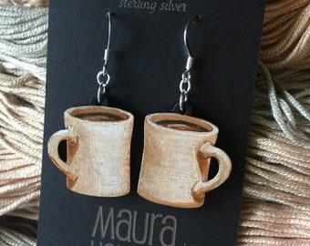 Hand painted coffee mug earrings