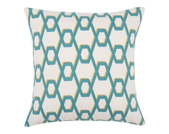 TEAL Pillow Cover.Decorator Pillow Cover.Home Decor.Large Print. WIRED TROPIC. Cushions. Cushion.Pillow. Premier Prints