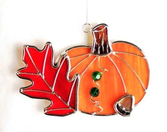 Stained Glass Fall Pumpkin suncatcher Ornament.