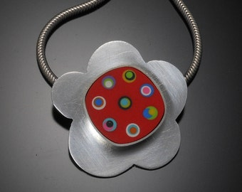 Sterling silver, polymer necklace #28