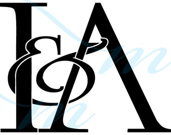 SALE - Intertwining Ampersand Monogram - I&A (instant download - jpg, psd, pdf)
