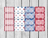 16 Planner Stickers Half Box 4th of July Planner Stickers Americana Patriotic Red White Blue PS379f Fits Erin Condren Planners
