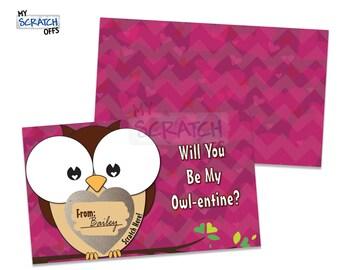 Owl Valentine Scratch Off Cards - DIY Classroom Valentine