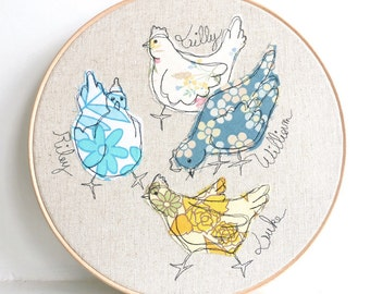 "Me & My Girls - Personalised Embroidered Hoop Art - Chickens textile artwork in yellow and blue - 10"" hoop"