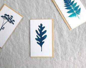 Botanical leaf turquoise metallic foil mini print card with envelope botany shiny ltd ed 'Botanique Electrique' collection