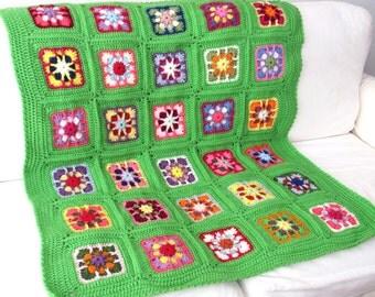 Handmade Crochet Kaleidoscope Baby nursery blanket  / afghan granny squares