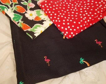 Fabric Bundle-Flamingo Strawberry and Polka Dot-Fabric Yardage-Embellished Fabric
