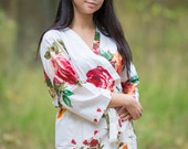 White Large Floral Blossom Patterned Robe | Kimono Style getting ready robe for wedding day, bridal shower gift, dressing gown