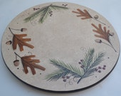 Hand Painted Lazy Susan/ Fall Motif Lazy Susan/Winter Lazy Susan/ Table Top Decor/ Oak Leaves/Acorns/Pine Needle/ Entertaining/Hostess