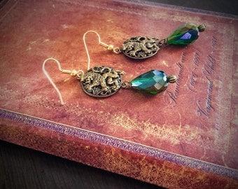 Medieval Lion and Emerald Teardrop Earrings