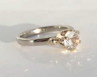 She Said Yes! Maine White Tourmaline Stackable 14K Gold Ring, Handmade in Maine