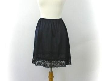 Vintage 70s Mini Half Slip Black Nylon w Wide Lace Hem Size Small