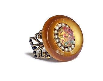 Autumn Statement Ring Vintage Button Glass Harlequin Fire Opal Swarovski Pearls Antique Brass Filigree Gold Camel Brown Timeless Design OOAK
