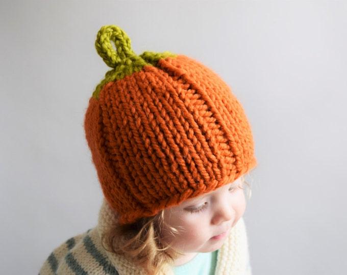 Featured listing image: Pumpkin Hat Knitting Pattern