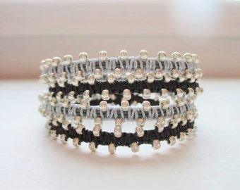 Bollywood Beaded Wraps - Colorful Macrame Wrap Bracelets - Trios