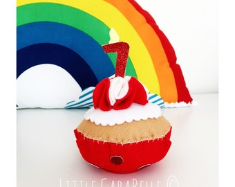 Felt Birthday Cupcake featuring celebration age in glitter candles - 7th birthday handmade. Keepsake felt cake, birthday cupcake