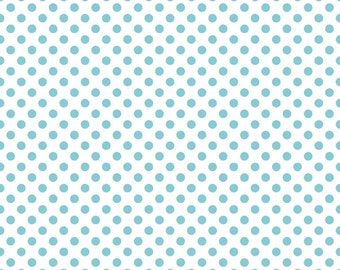 Aqua Small Dots on White Fabric by Riley Blake Designs - Half Yard - 1/2 Yard - Blue and White - C480-20