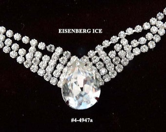FREE SHIP Signed Eisenberg Ice Clear Necklace (4-4947)