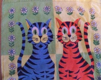 1973 retro cats calender tea towel meow